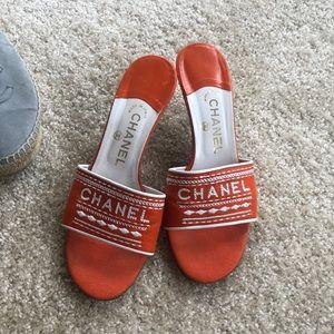 SOLD —- Orange Chanel logo heels clean stitched